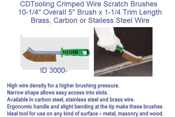 Scratch Brushes Crimped Wire, Brass, Steel,Stainless Steel Wire 10 Pack ID 3000-
