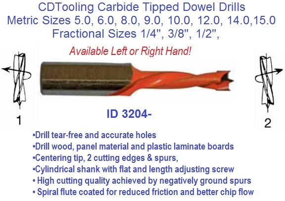 Carbide Tipped Dowel Drills 5 6 7 8 9 10 12 15 mm, 1/4, 3/8 1/2 Diameter ID 3204-