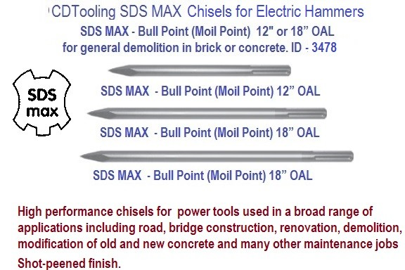 Bull Point Chisel x 12, 18 or 24 Inch Long SDS Max for Rotary Hammer Drill ID 3478-