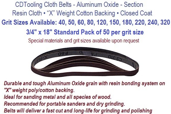 3/4 x 18 Inch Resin Cloth Belts 40, 50, 60,80, 100, 120,150, 180 ,220 , 240 , 320, Grit Available,  Pack of 50 per Grit  ID 3771-