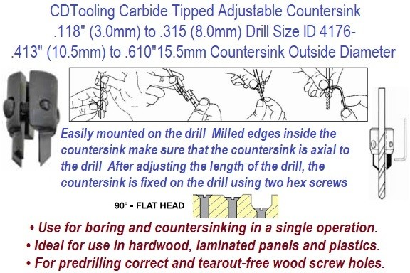 90 Degree Adjustable Countersink .118 (3mm) to .315 (8mm) Drill Diameter .413 (10.5mm) to .610 (15.5mm) Countersink Diameter ID 4176-