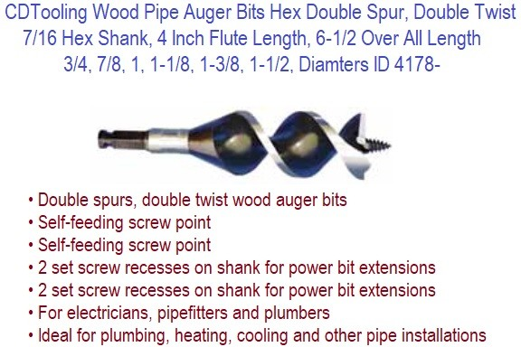 Pipe Auger Bits Hex 7/16 Shank Double Spur Twist  3/4, 7/16, 1, 1-1/8, 1-3/8, 1-1/2, Diameters 4 Inch Flute 6-1/2 OAL ID 4178-