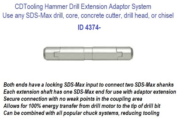 Hammer Drill Adaptor Extension System Extend length of SDS-Max drill bit, core bit, concrete cutter, drill head, chisel ID 4374