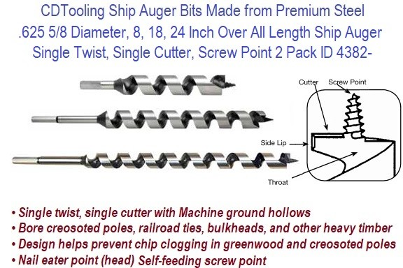 .625 5/8 Diameter, 8, 18, 24 Inch Over All Length Ship Auger Single Twist, Single Cutter, Screw Point 2 Pack ID 4382-