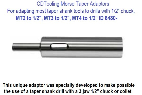 Morse Taper Adapters to Straight Shank tools to Fit 1/2 Inch Chucks or Collets, MT2, MT3 or MT4 to 1/2