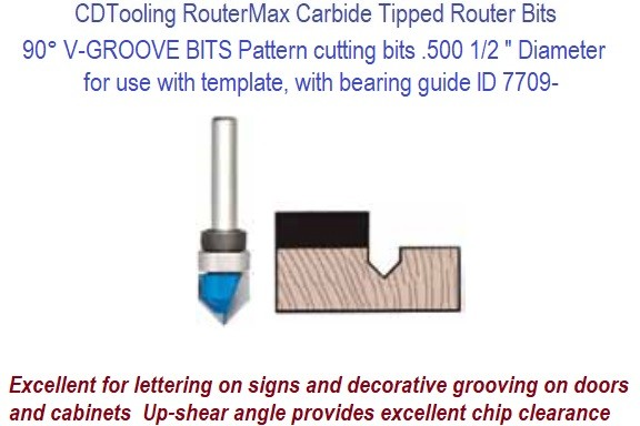 90 Degree V-GROOVE Carbide Tipped Router BITS, Pattern cutting bits .500 Inch Diameter use with template, with bearing guide 2 Pack ID 7709-