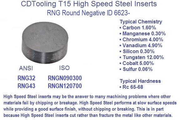 RNG,32, 43,  RNGN, 0903, 1207 , High Speed Steel Indexable Inserts 10 Pack T15, ID 6623-