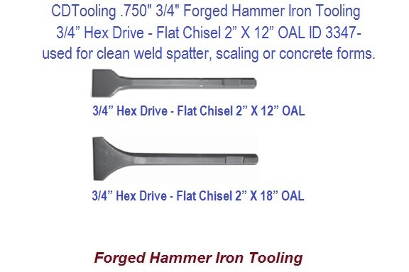 Flat Chisel 2 or 3 Inch Wide 3/4 Hex Shank Forged Hammer Iron Tool 12 or 18 Inch Long ID 3357-