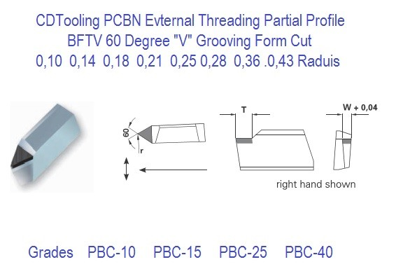 PCBN External Threading 60 Degree Partial Profile BFTV Grooving Form Cut
