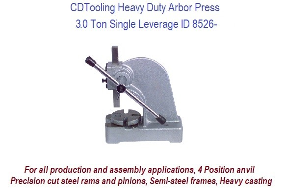3.0 Ton Single Leverage Arbor Press Heavy Duty ID 8526-RK803