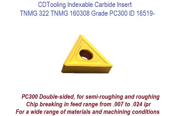 TNMG 332 PC300 TNMG 160308 Indexable Carbide Insert wide range of materials and machining conditions ID 16519-