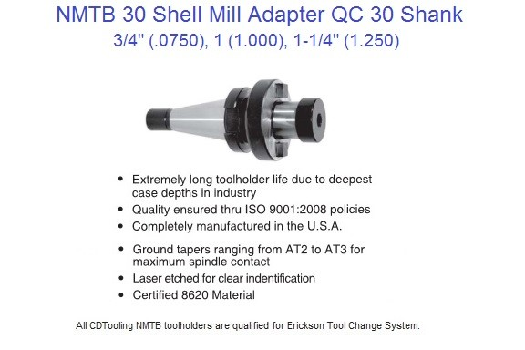 NMTB 30 Shell Mill Arbor / Adapters 3/4, 1