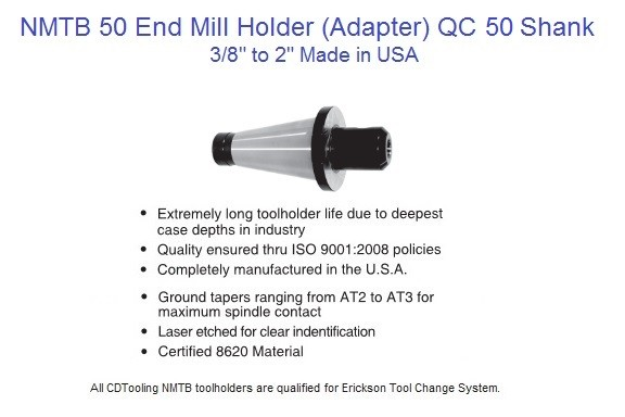NMTB 50 End Mill Holder 3/8,1/2,5/8,3/4,1,1-1/4,1-1/2,2 inch  Made in USA