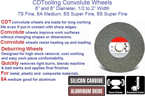 Convolute Wheels, High Stock Removal Cool Working, Metal Plastic Composite Aluminum