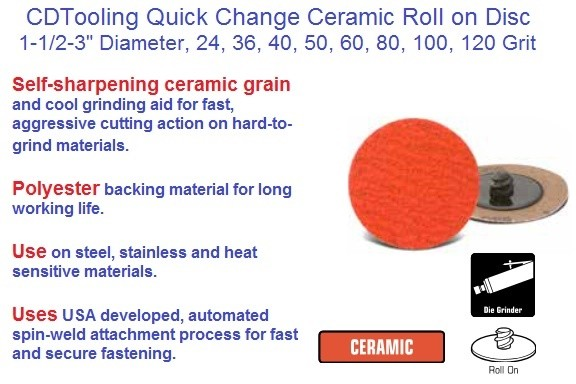Abrasive Quick Change C3 Ceramic Roll On Disc 1-1/2