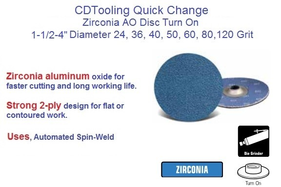 Abrasive Quick Change Disc Zirconia Turn On 1-1/2, 2, 3