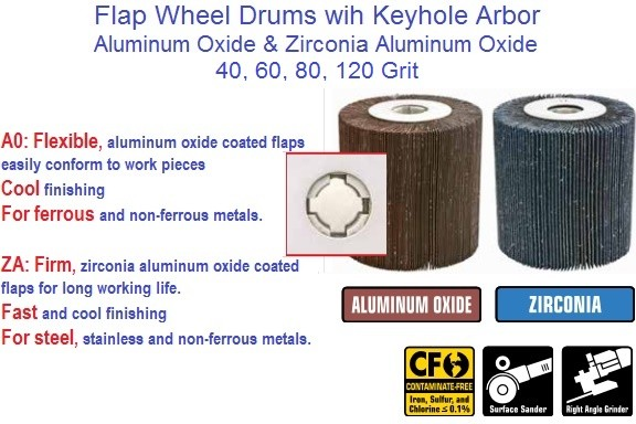 Flap Wheel Drum ALO Zirconia With Keyhole Arbor 40, 60, 80, 120, Grit