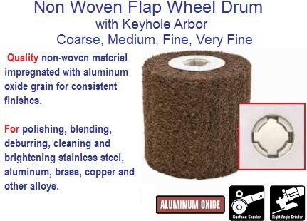 Abrasive Flap Wheel Drum Non-Woven 4 x 4 x 3/4 Coarse Medium Fine Very Fine