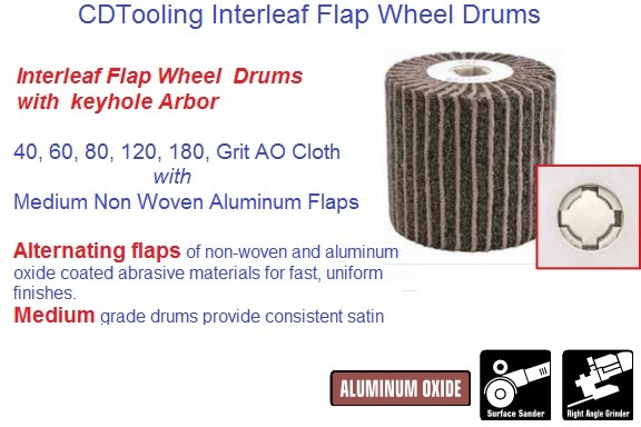 Abrasive Interleaf Flap Drums 4 x 4 x 3/4 40 60 80 120 180 240 / Med 5/8-11