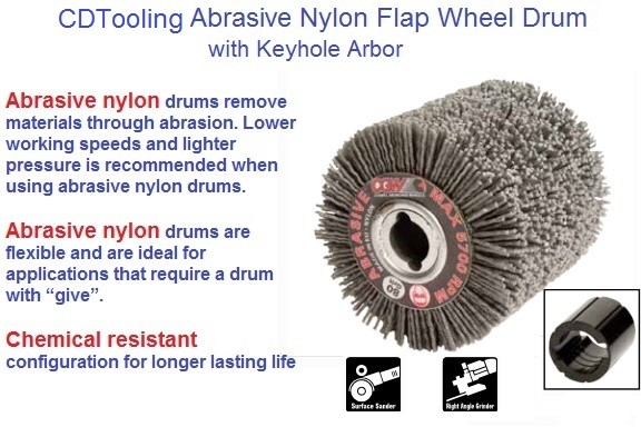 Abrasive Nylon Flap Wheel Drum 71600 4 x 2-3/4, 71608 4 x 4, 80 Grit ID 1951-