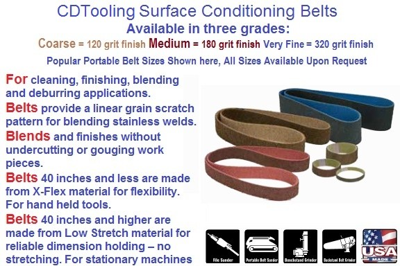Surface Conditioning Belts Brown Coarse, Maroon Medium, Blue Very Fine 1/4-6