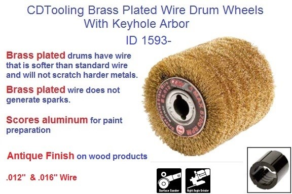 Brass Plated Wire polishing burnishing wheel Drums 71604 2-3/4 x 4, 71612 4 x 4 Inch with Keyhole Arbor ID 1953-