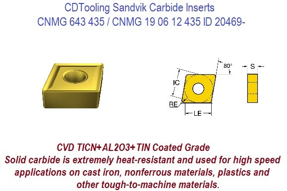 CNMG 643 435 Sandvik Carbide Insert cast iron, nonferrous materials, plastics tough-to-machine materials !0 Pack ID 20469-