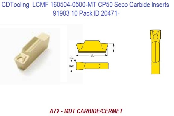 LCMF 160504-0500-MT CP50 Seco Carbide Inserts 91983 10 Pack ID 20471-