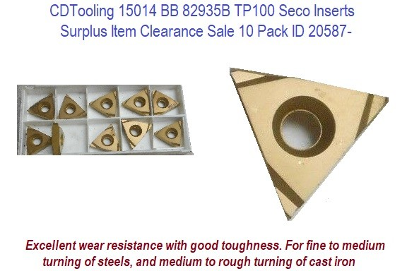 15014 BB 82935B TP100 Seco Inserts 10 Pack Surplus Item Clearance Sale 10 Pack ID 20587-
