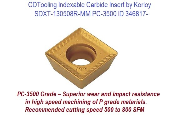 SDXT-130508R-MM PC-3500 Indexable Carbide Insert KORLOY 10 Pack While Quantity Lasts ID 346817-