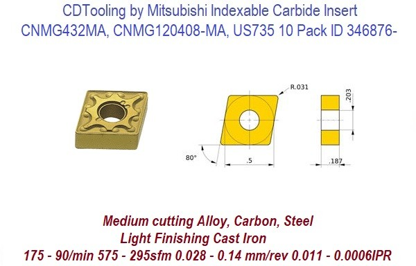 CNMG432MA, CNMG120408-MA, US735 Mitsubishi Indexable Carbide Insert 10 Pack ID 346876-