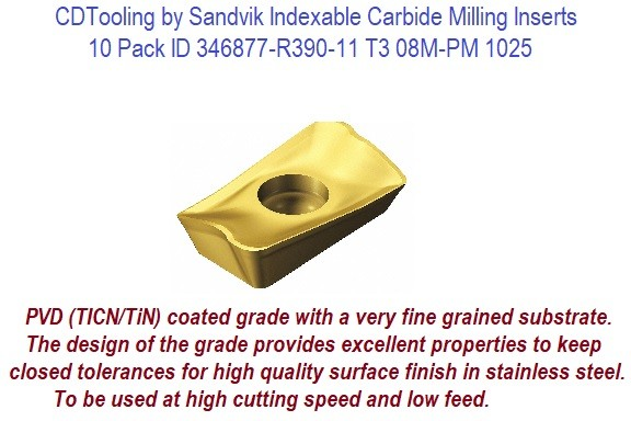 Sandvik Indexable Carbide Milling Inserts 10 Pack ID 346877-R390-11 T3 08M-PM 1025