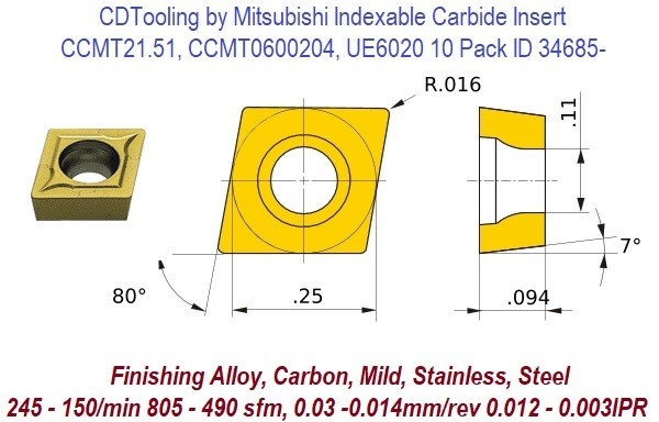 CCMT21.51, CCMT0600204, UE6020 Mitsubishi Indexable Carbide Insert 10 Pack ID 34685-