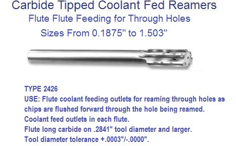 Carbide Tipped Coolant Fed Reamer Coolant Hole for Though Holes Series 2426 .1875 to 1.503