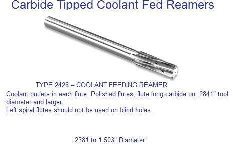 Carbide Tipped Coolant Fed Reamer Coolant Though Flute Left Spiral .2381 to 1.5030