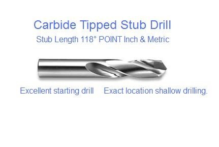 Carbide Tipped Stub Drill Bit 118 Degree Point Metric and Inch Sizes  List 2642