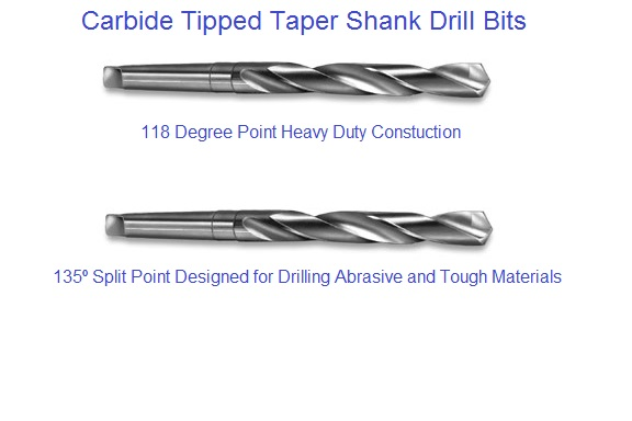 Dia Carbide Tipped Taper Length 25//32 in Drill High Speed Body
