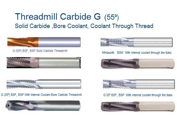 Carbide Thread Mills BSW BSP BSF 55 Degree, Solid Carbide Coolant Through