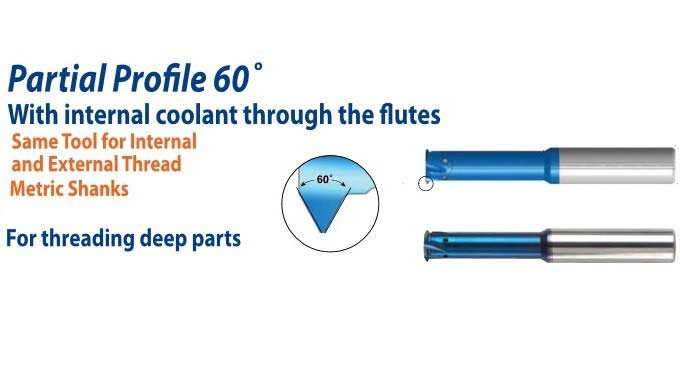 Carbide Threadmill Partial Profile 60 Degree Coolant Through Flutes