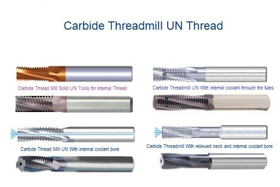 Carbide ThreadMills UNC UNF UNS, Solid Carbide, Coolant Bore, Coolant Though Flute