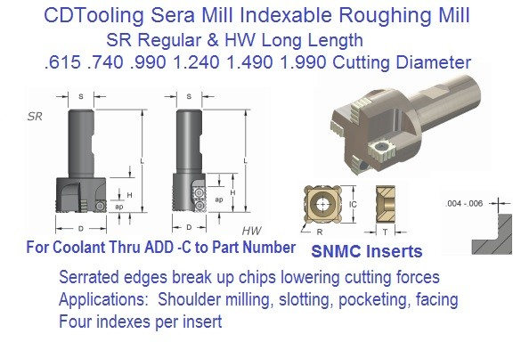 Sera Mill Indexable Roughing End Mill SR HW .615 .740 .990 1.490 1.990 Diameter