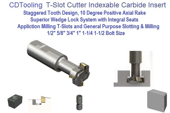 Indexable Carbide Insert TSC, T-Slot Cutter For 1/2, 5/8, 3/4, 1, 1-1/4, 1-1/2 Inch Bolt Size
