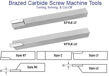 Carbide Tipped Brazed Screw Machine Tools RT C LT RC LC