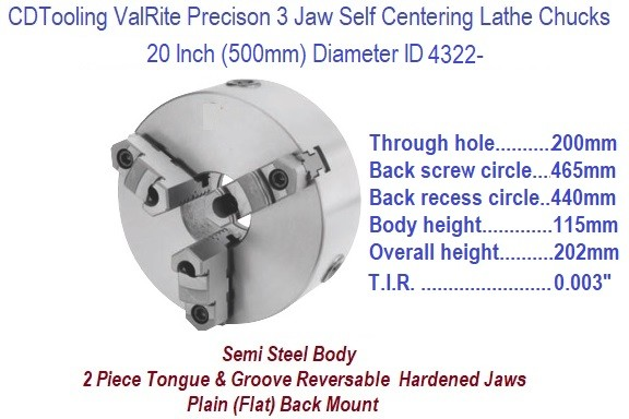 20 Inch 500 mm 3 Jaw, Self Centering, Plain Back, Lathe Chuck ID 4322-