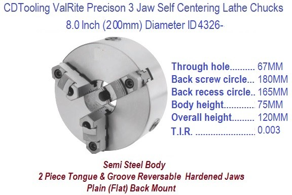 8 Inch 200 mm 3 Jaw, Self Centering, Plain Back, Lathe Chuck ID 4326-