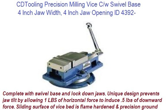 4 Inch Jaw Width, 4 Inch Jaw Opening Precision Milling Vice C/w Swivel Base ID 4392-850-400