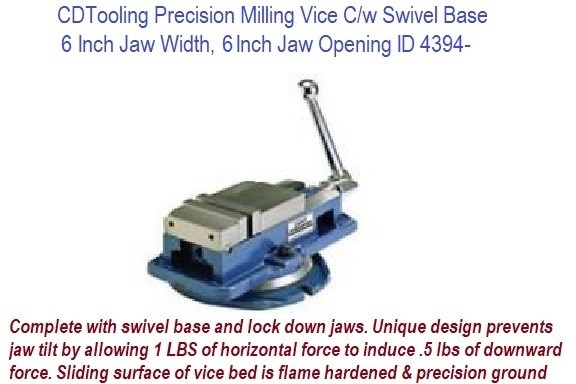 6 Inch Jaw Width, 6.25 Inch Jaw Opening Precision Milling Vice C/w Swivel Base ID 4394-850-600