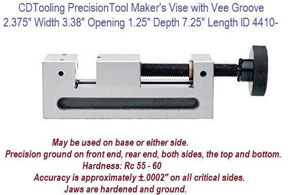 2.375 inch Jaw Width 3.375 Opening, 7.25 Long Precision Tool Maker Vise ID 4410-705-238