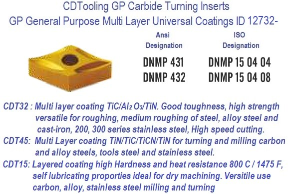 DNMP 431, DNMP 432 GP Grade Indexable Carbide Inserts 10 Pack ID 12732-