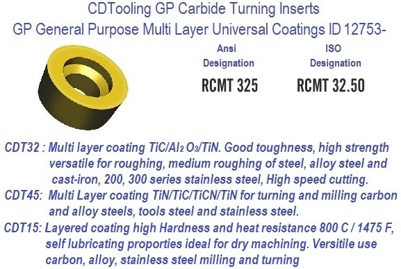RCMT325 RCMT 32.5 GP Grade Indexable Carbide Inserts 10 Pack ID 12753-